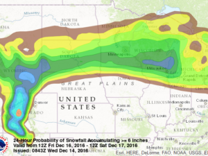 "Probability of 6""+ of Snow from Friday AM to Saturday AM"