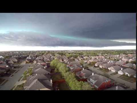 Drone Shot: Green Illumination Before Wylie Hail Storm