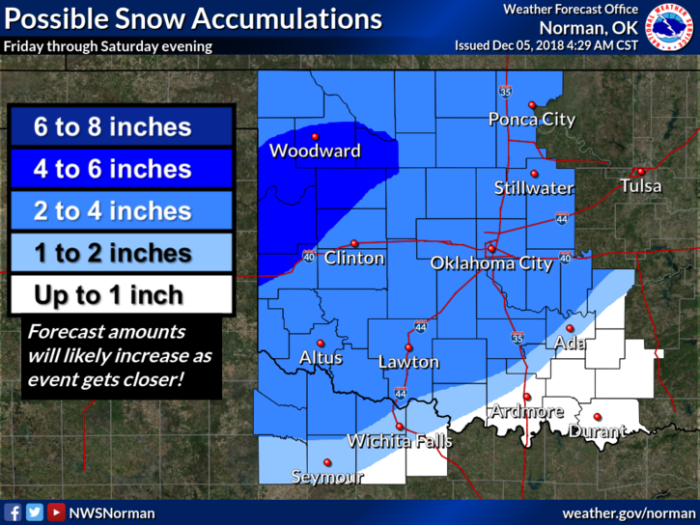Snow Forecast via NWS Norman