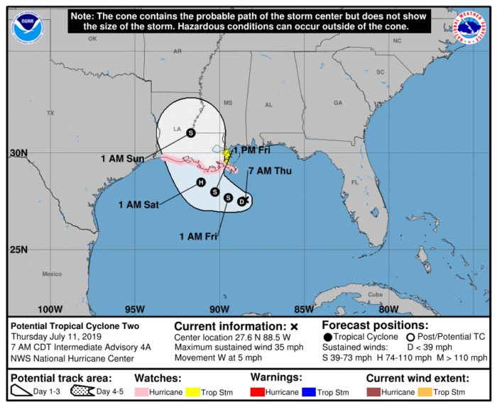 7-11 Potential Tropical Cyclone Two Track